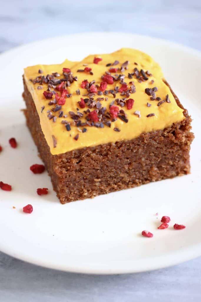 Gluten-Free Vegan Tahini Frosted Chocolate Cake
