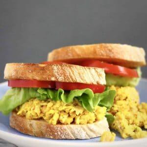 Vegan Chickpea Curry Salad Sandwich (GF)