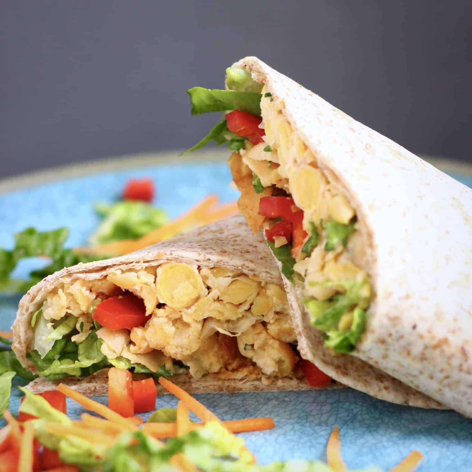 Vegan Chickpea Caesar Salad Wraps (GF)