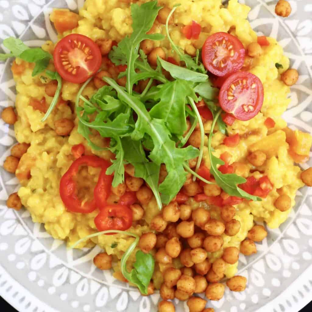 Vegan Spanish Risotto With Crispy Chickpeas (GF)