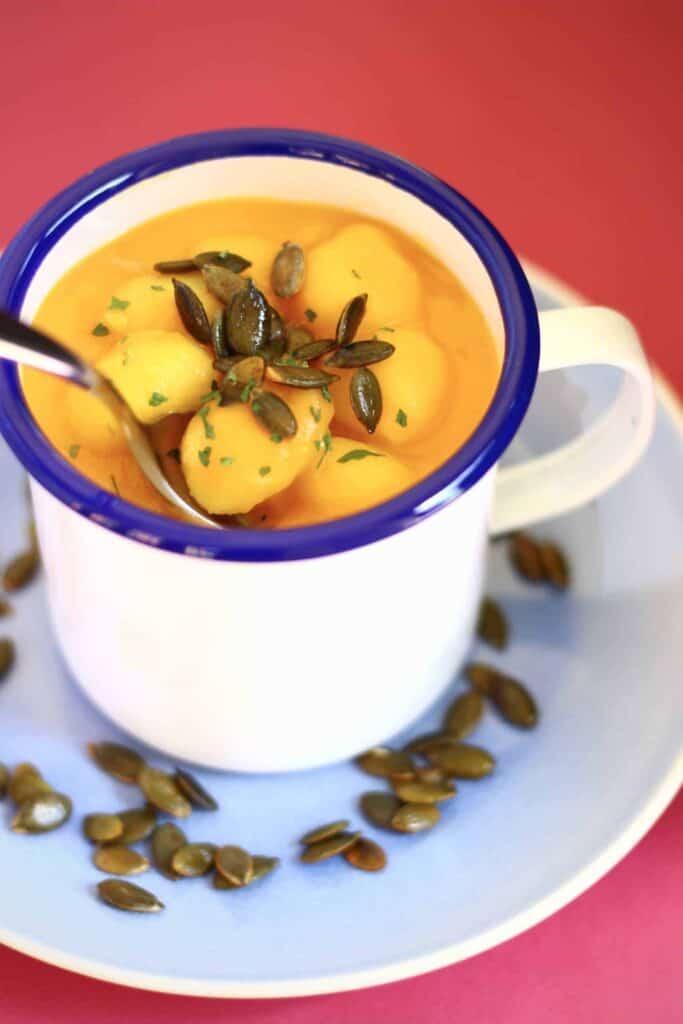 Creamy Vegan Pumpkin Gnocchi Soup (GF)
