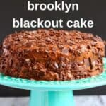 Photo of a chocolate cake on a blue cake stand with a grey background
