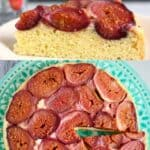 Collage of an upside down cake topped with figs and a slice of the cake taken from the side