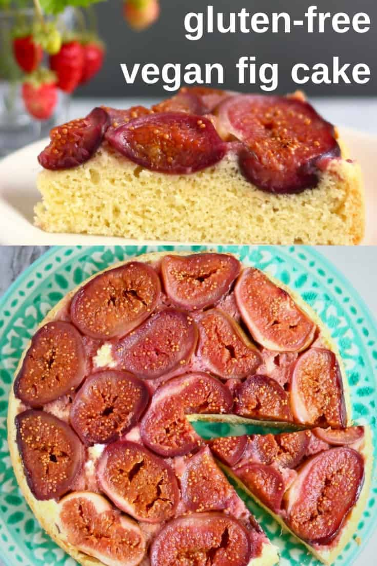 This Gluten-Free Vegan Fig Upside Down Cake is the best way to celebrate the fleeting phenomenon that is fresh fig season! The perfect dessert for autumn/fall. Egg-free, dairy-free and refined sugar free. #vegan #dairyfree #glutenfree #fig #cake #dessert #baking