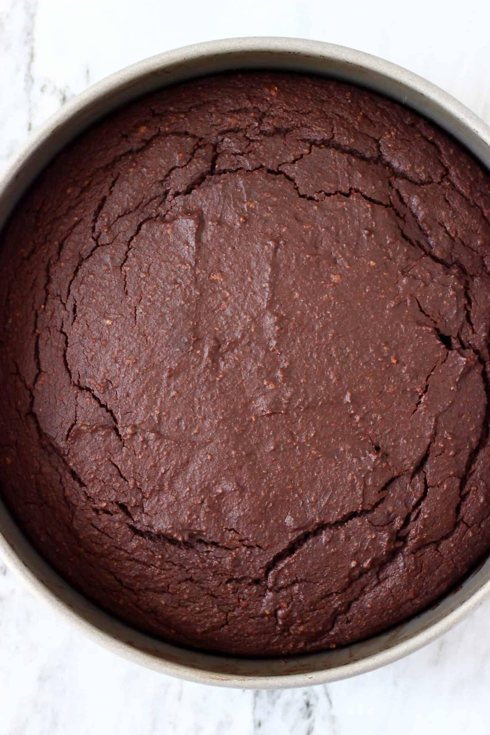 Gluten-free vegan chocolate mousse cake sponge in a springform baking tin