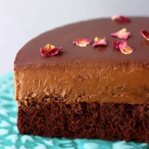 A sliced gluten-free vegan chocolate mousse cake with sponge, chocolate mousse and ganache