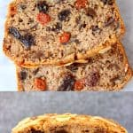 A collage of two gluten-free vegan fruit cake photos