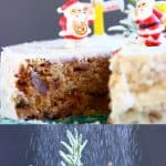 A collage of two gluten-free vegan Christmas Fruit cake photos