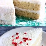 A collage of two Gluten-Free Vegan Coconut Cake photos