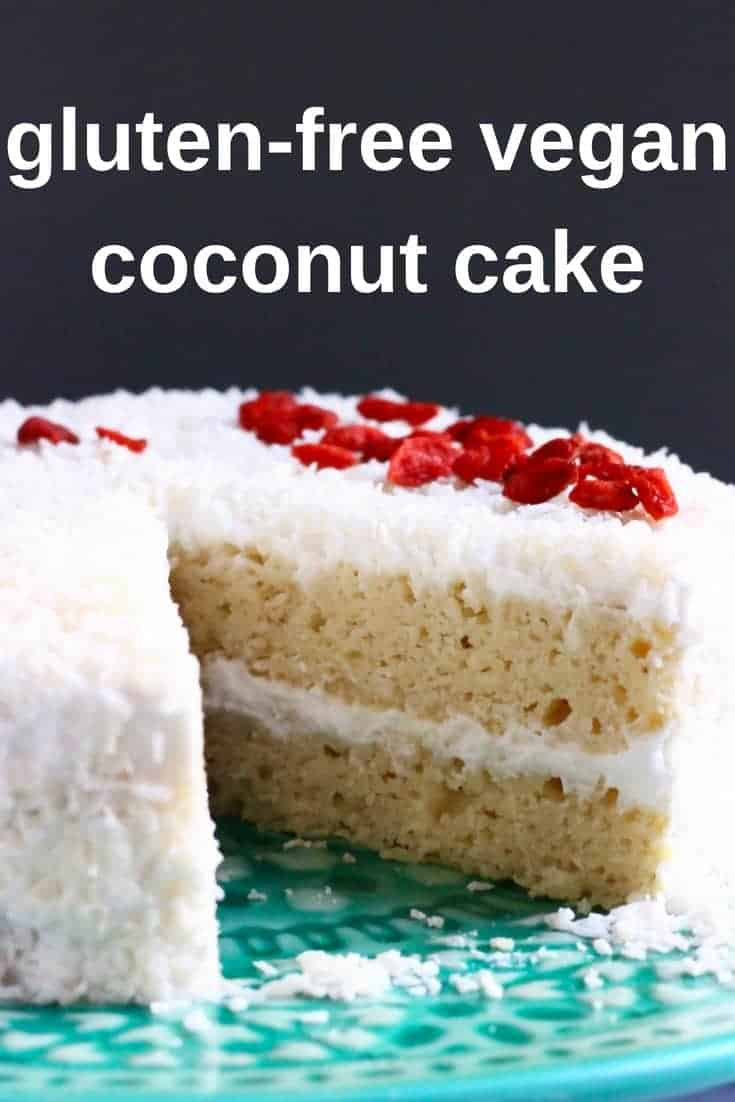 This Gluten-Free Vegan Coconut Cake is moist and fluffy, sweet and creamy and wonderfully coconutty! Egg-free, dairy-free and refined sugar free. #vegan #glutenfree #dairyfree #cake #coconut #baking #dessert