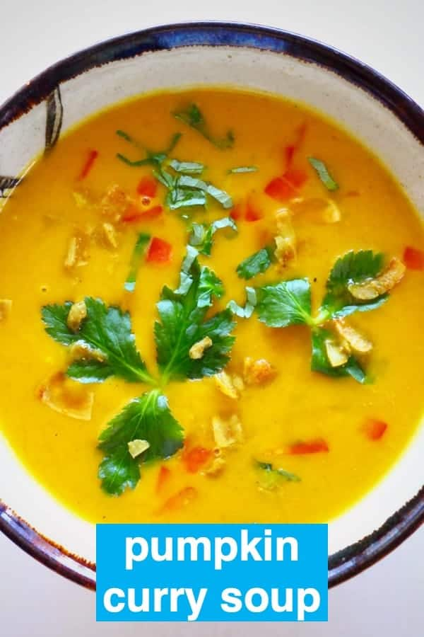 This Pumpkin Curry Soup issuper nutritious,warming and comforting andreally easy to make! An easy lunch, or starter for Thanksgiving or Christmas! Vegan, vegetarian, gluten-free and dairy-free. #rhiansrecipes #vegan #vegetarian #dairyfree #glutenfree #pumpkin #thanksgiving #christmas