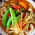 Udon noodles and vegetables in a brown curry sauce in a white bowl with a dark brown rim against a blue background