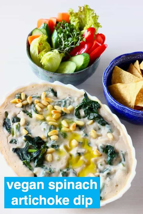 This Vegan Spinach Artichoke Dip is what appetiser dreams are made of! It's rich and creamy, full of flavour and secretly healthy! Perfect for Thanksgiving, Game Day, Super Bowl, Christmas etc. Vegetarian, dairy-free, egg-free, gluten-free and nut-free optional. #rhiansrecipes #dip #vegan #dairyfree #glutenfree #appetizer #superbowl #thanksgiving