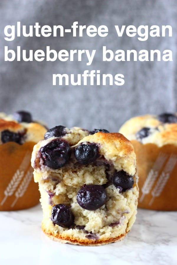 These Gluten-Free Vegan Blueberry Banana Muffins are moist and fluffy, sweet and fruity, and free from sugar! They make a great healthier breakfast, dessert or snack! Dairy-free, egg-free and refined sugar free. #rhiansrecipes #vegan #dairyfree #glutenfree #muffins #dessert #blueberry