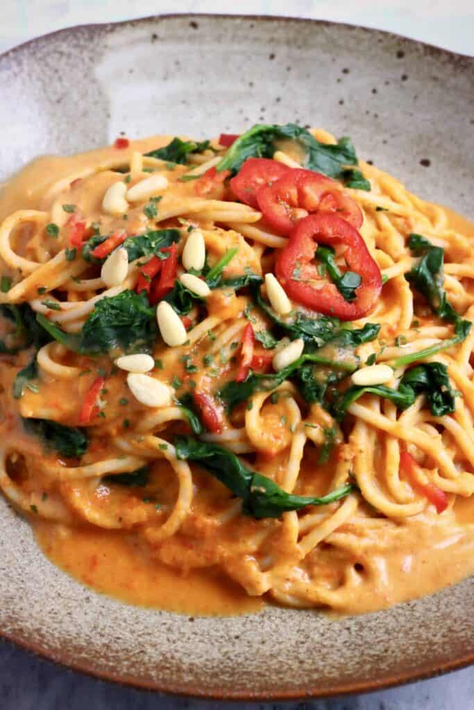 Vegan Roasted Red Pepper Pasta (GF)
