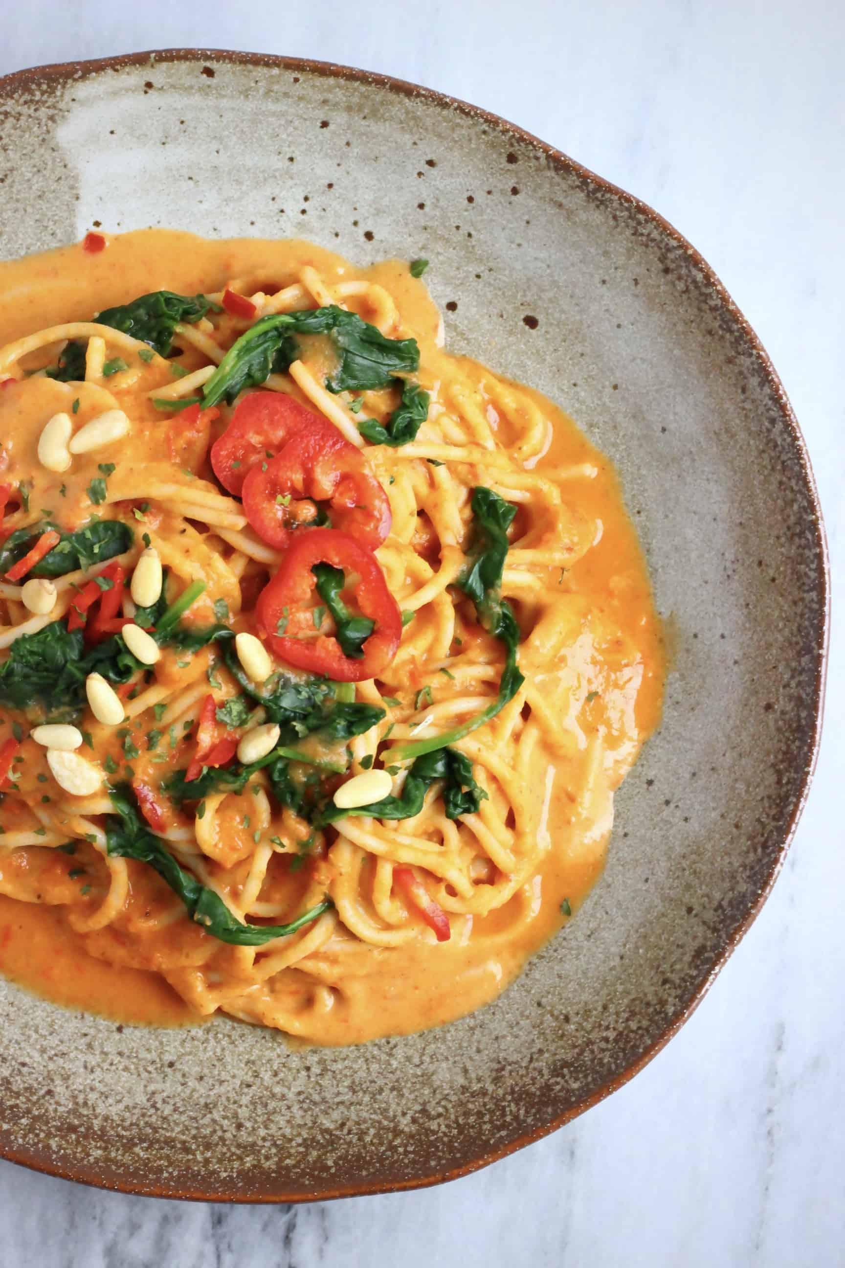 Vegan Roasted Red Pepper Pasta (GF)