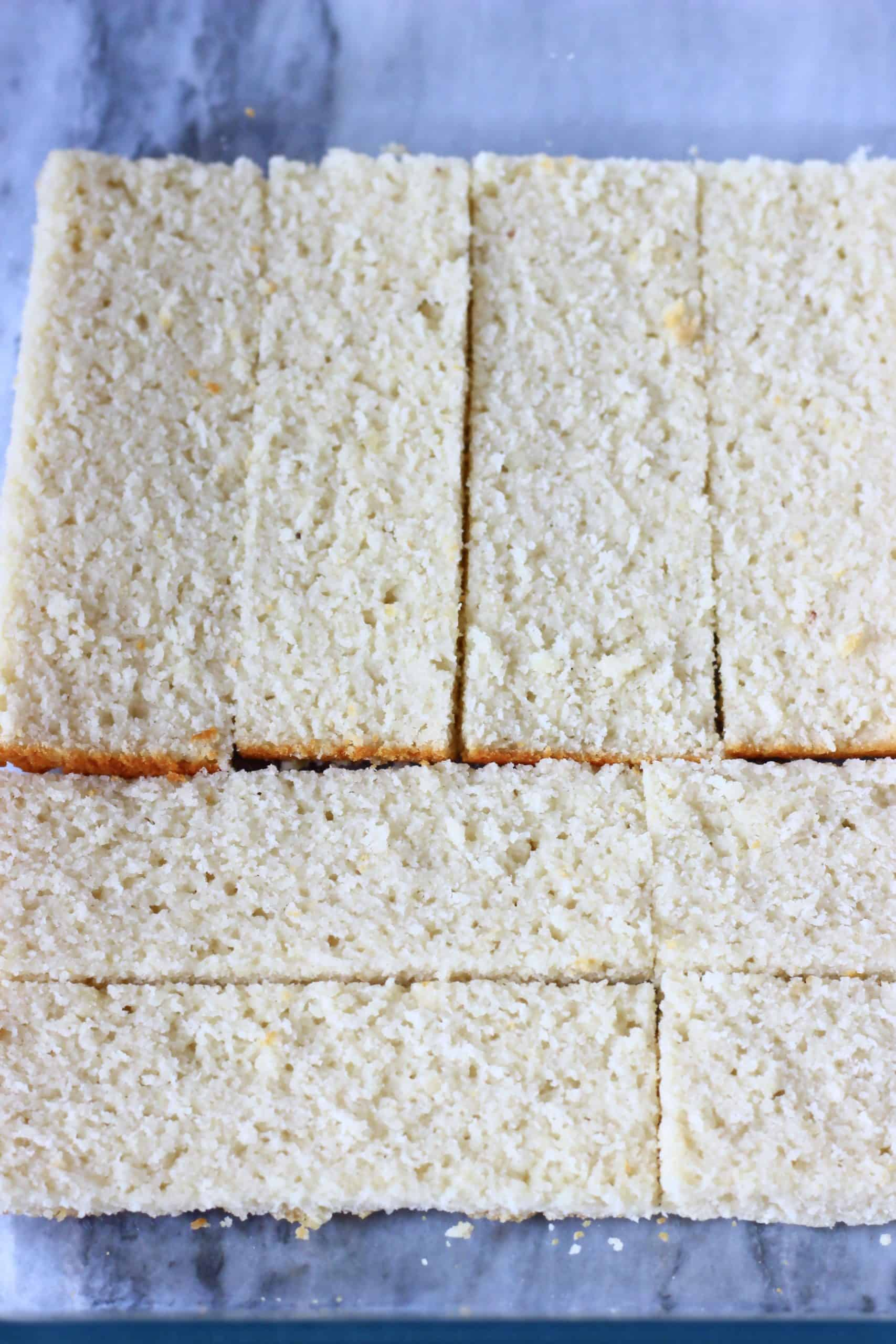 Gluten-free vegan sponge rectangles laid out along the bottom of a baking dish
