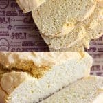 A collage of two gluten-free vegan bread photos