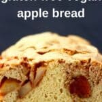 Sliced apple bread photo against a black background