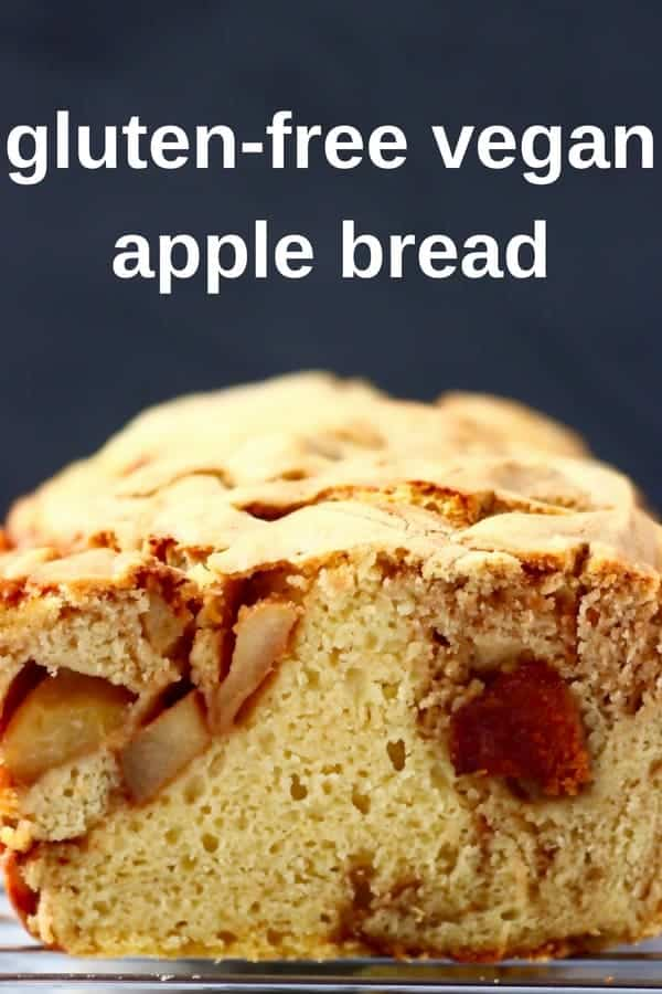 This Gluten-Free Vegan Apple Bread is fruity and fragrant, super easy to make and perfect for sharing! Great for breakfast, brunch, snacks, dessert or anything in between! Egg-free and refined sugar free. No knead and yeast-free. Perfect for autumn/fall and Thanksgiving, but good all year round! #vegan #glutenfree #dairyfree #bread #apple #thanksgiving #breakfast #brunch #refinedsugarfree #rhiansrecipes