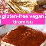 A collage of two gluten-free vegan tiramisu photos