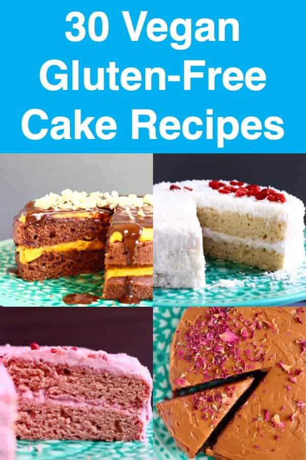 30 Vegan Gluten-Free Cake Recipes - all refined sugar free! Fruit cakes such as strawberry or lemon, decadent chocolate cakes like chocolate mousse cake and chocolate truffle cake, as well as others like red velvet cake, coffee cake and coconut cake. Perfect for occasions like birthdays, Christmas, Easter, Mother's Day, and everything else in between! #vegan #glutenfree #dairyfree #cake #birthday #dessert #sponge #rhiansrecipes