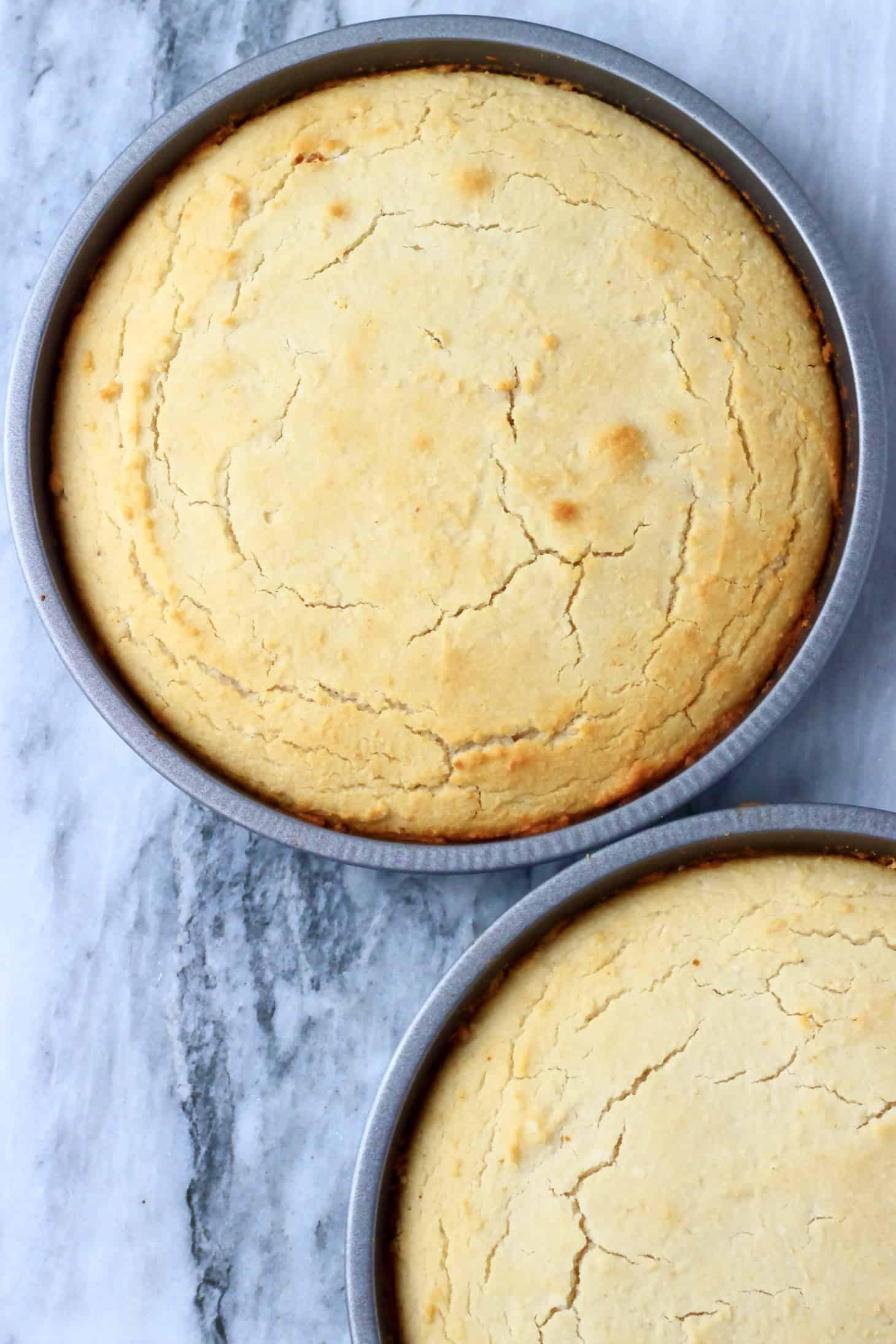 Two gluten-free vegan vanilla cake sponges in two circular baking tins