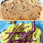 A collage of two buckwheat bread photos