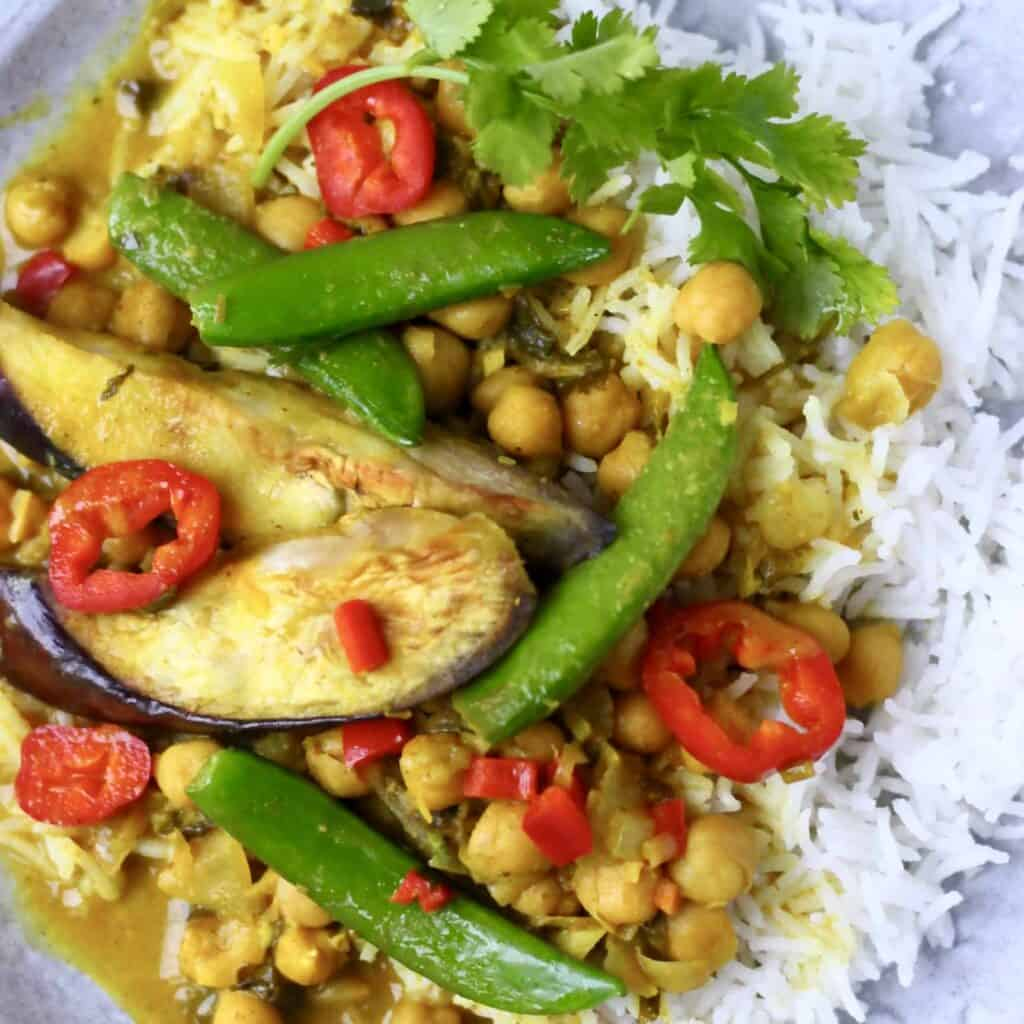 Eggplant Chickpea Peanut Curry (Vegan + GF)