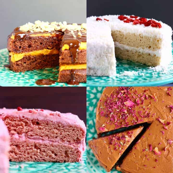 Collage of four cake photos