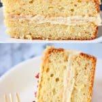 A collage of two Gluten-Free Vegan Vanilla Cake photos