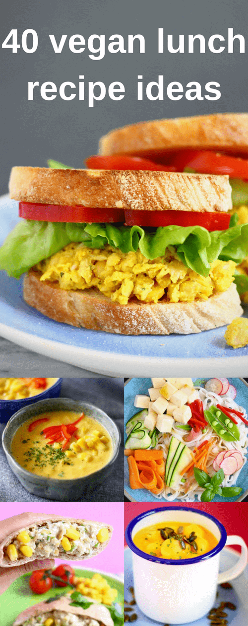 40 Easy Vegan Lunch Recipe Ideas – creative sandwiches and wraps; flavourful dips; hearty salads and nutritious soups. Vegetarian, dairy-free, egg-free, gluten-free + refined sugar free. #rhiansrecipes #vegan #vegetarian #dairyfree #glutenfree #lunch