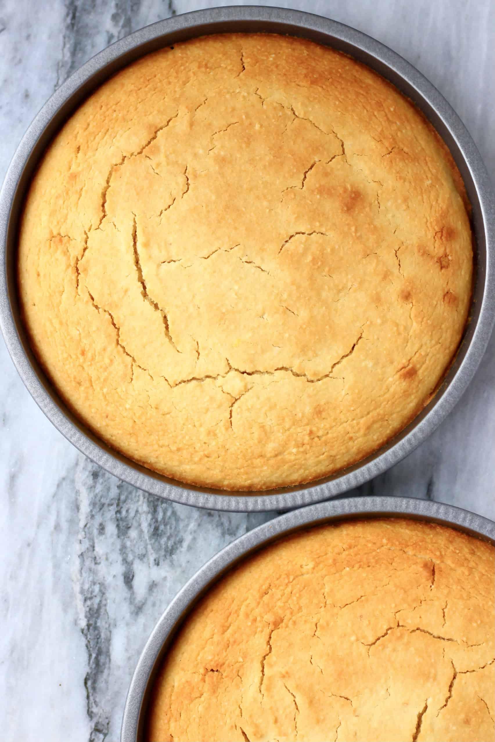 Gluten-free vegan orange cake sponges in two circular baking tins