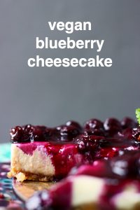 Sliced cheesecake topped with blueberry sauce and a sprig of mint against a grey background