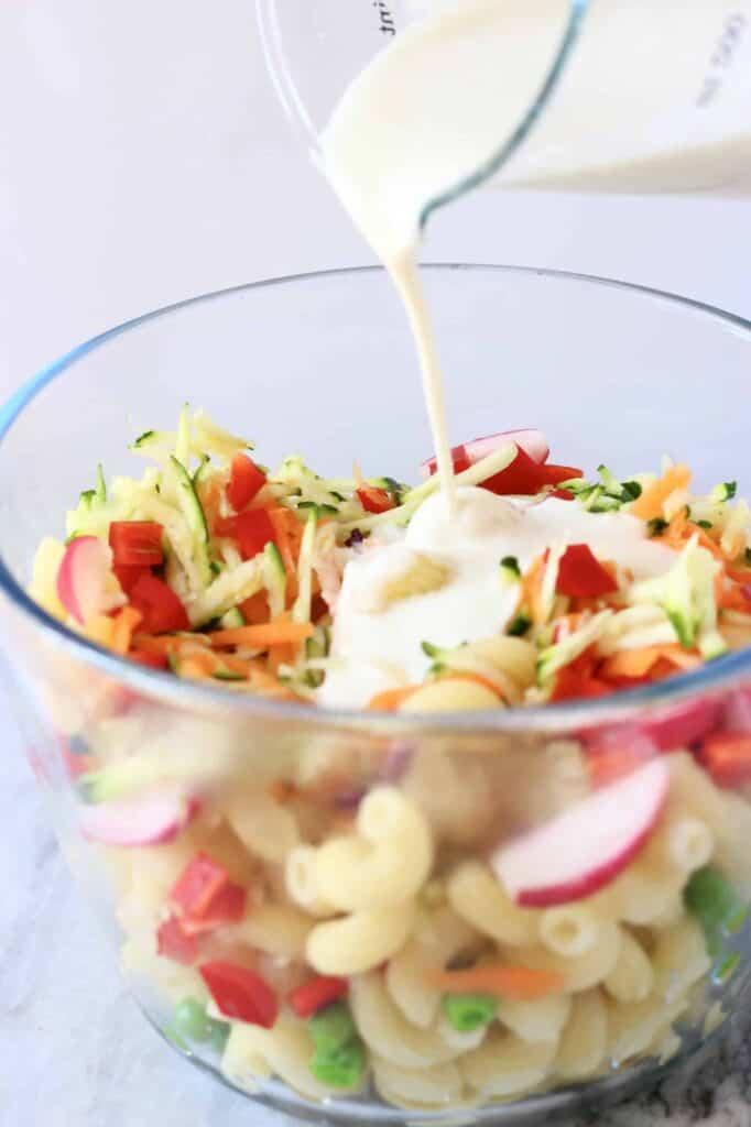 Vegan Rainbow Macaroni Salad (GF)