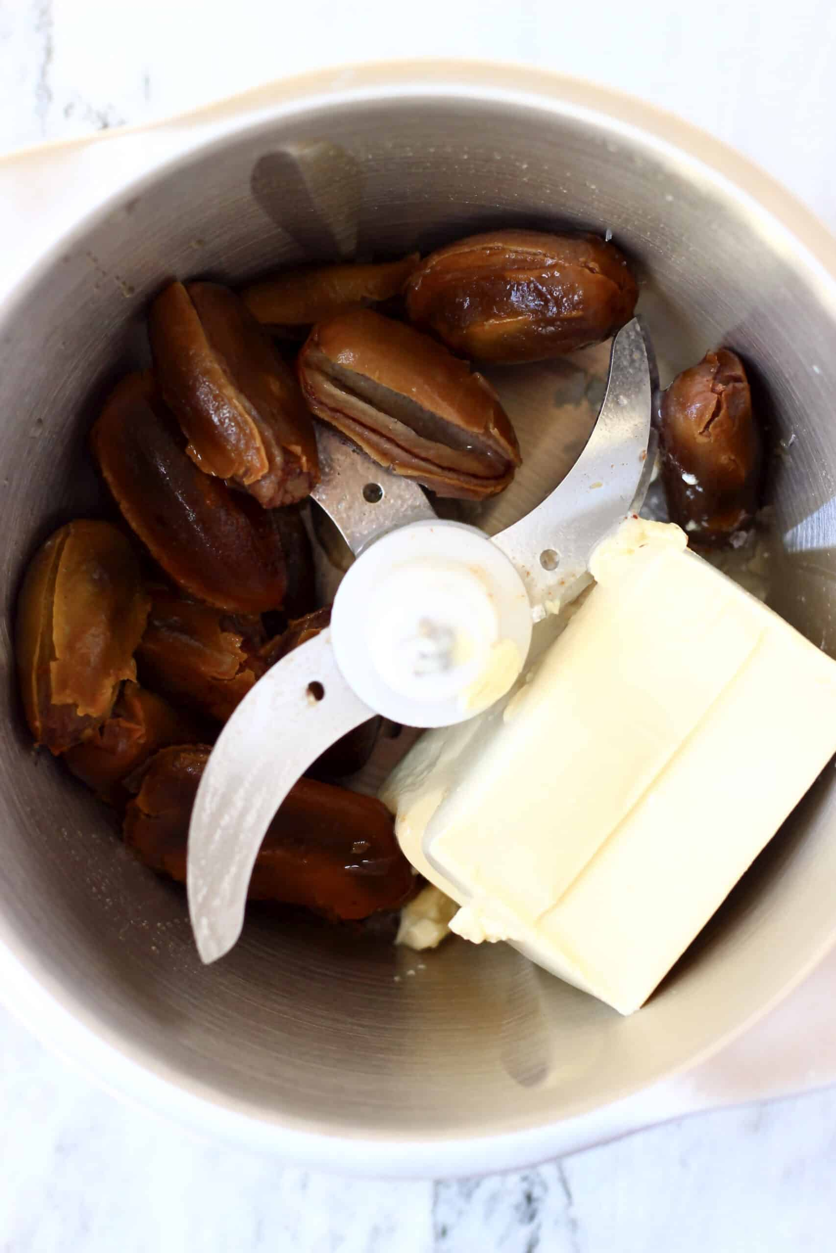 Dates, silken tofu, salt and almond milk in a food processor
