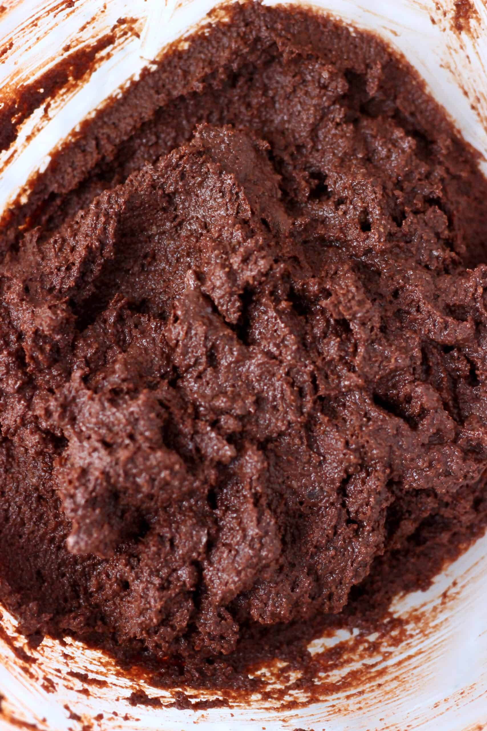 Raw vegan gluten-free chocolate brownie batter in a bowl
