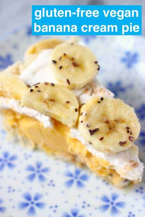 Photo of a slice of banana cream pie on a white plate with blue flowers