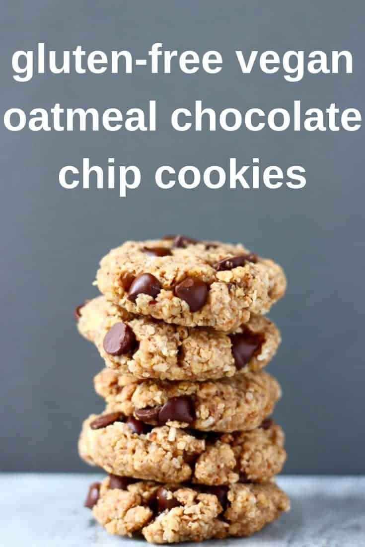 These Gluten-Free Vegan Oatmeal Chocolate Chip Cookies are soft and chewy, perfectly sweet and secretly healthy! Perfect for dessert, an afternoon snack or even breakfast! Refined sugar free. #vegan #glutenfree #dairyfree #baking #dessert #cookies #chocolate