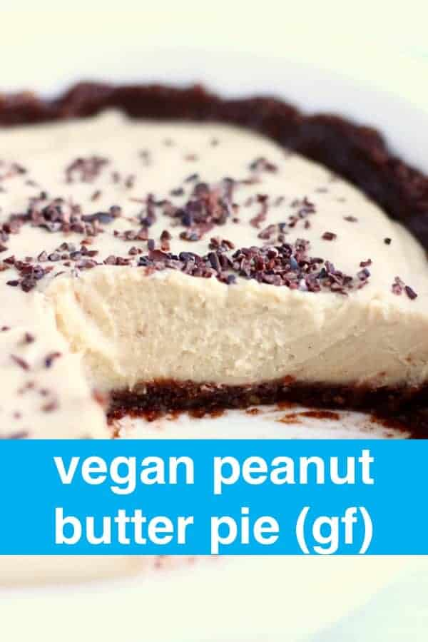 This Vegan Peanut Butter Pie is no-bake, incredibly decadent and secretly healthy! It's also gluten-free, grain-free and refined sugar free. A crunchy, chocolate crust with a luxuriously smooth, rich and creamy filling made with a secret ingredient! A great summer dessert! #vegan #dairyfree #glutenfree #peanutbutter #summer #pie #dessert #bbq