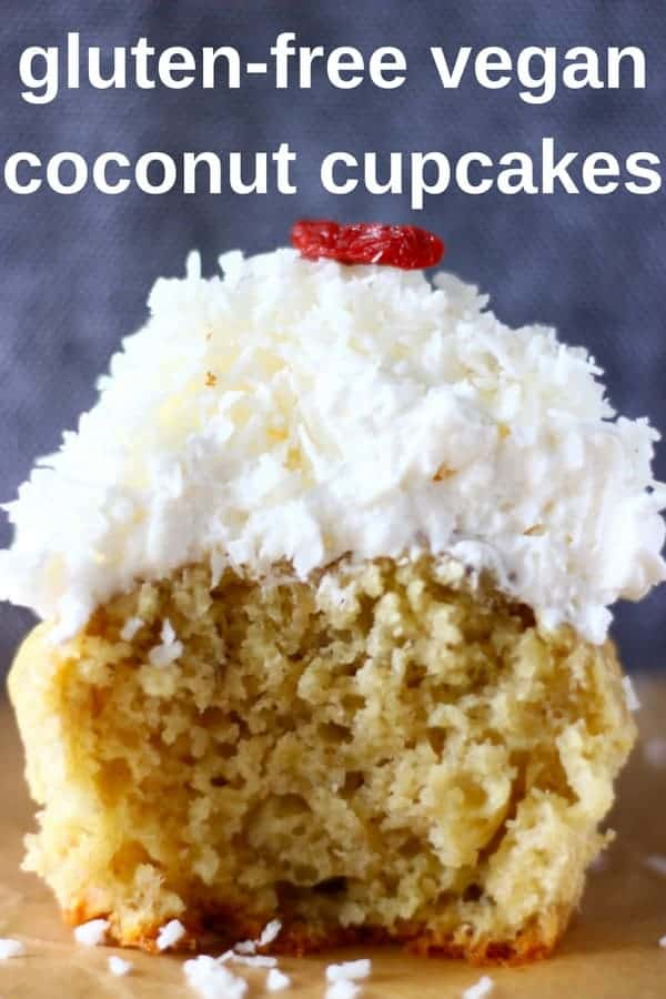 These Gluten-Free Vegan Coconut Cupcakes are moist and fluffy, luxuriously creamy, and fragrant and coconutty! Refined sugar free. #vegan #glutenfree #dairyfree #coconut