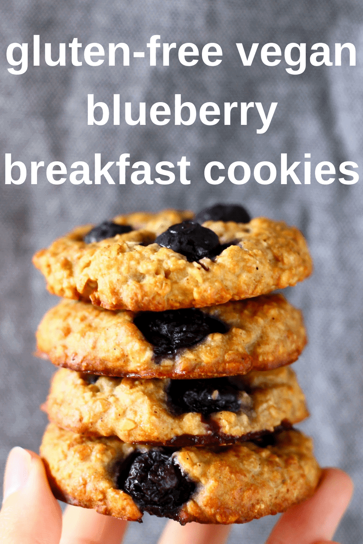 TheseGluten-Free Vegan Blueberry Breakfast Cookies aresoft and chewy,fragrant and fruity and perfectly satisfying. They work well as a filling breakfast, but are also great as an afternoon snack or healthy dessert.Egg-free, dairy-free, refined sugar free and oil-free optional. #vegan #glutenfree #dairyfree #oilfree #breakfast #cookies #blueberry #baking