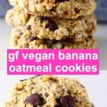 A collage of two gluten-free vegan banana oatmeal cookies photos
