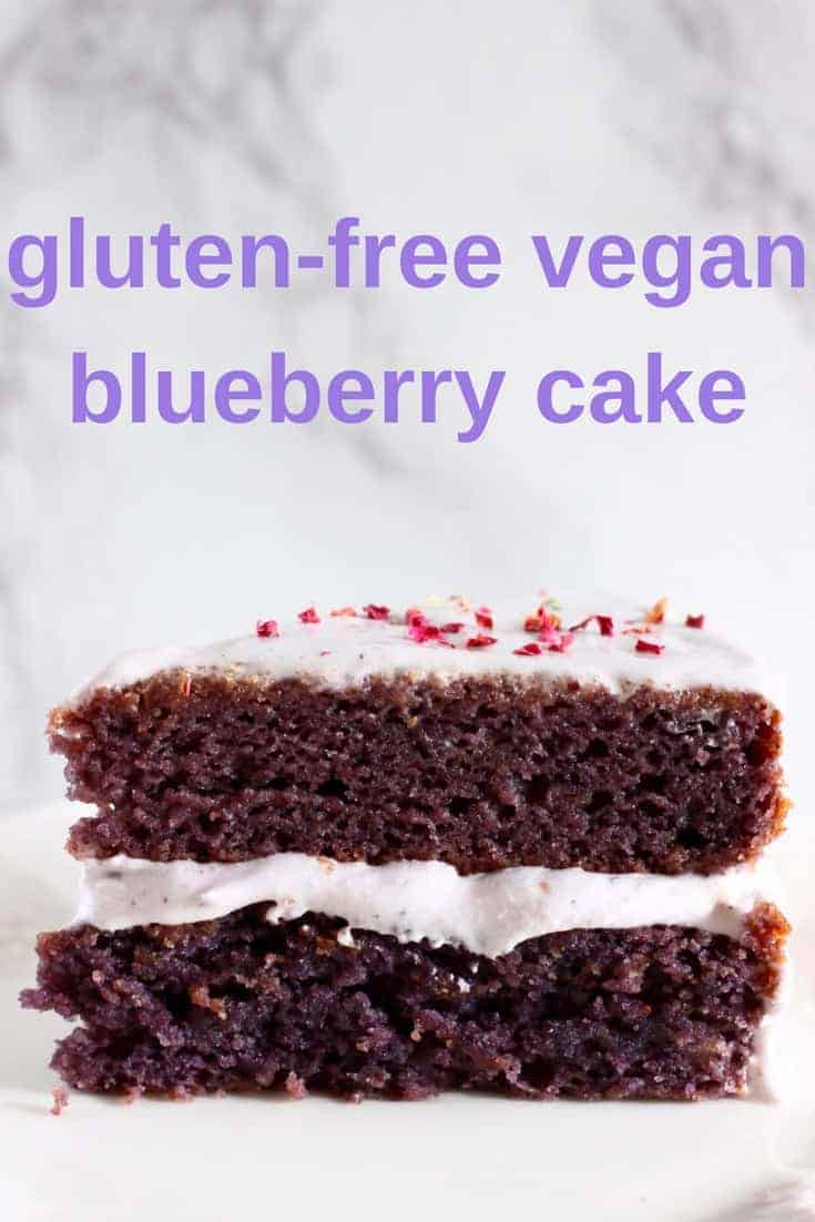 This Gluten-Free Vegan Blueberry Cake is seriously moist, packed full of fresh blueberries and slathered in creamy blueberry frosting. The perfect dessert for birthdays, baby showers and Mother's Day. Egg-free, dairy-free and refined sugar free. #vegan #glutenfree #dairyfree #cake #dessert #blueberry