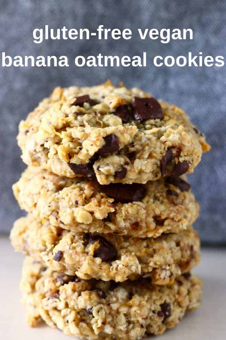 These Gluten-Free Vegan Banana Oatmeal Cookies are soft, chewy, and perfectly sweet. They're easy to make and can be customised however you like - you can add chocolate chips, raisins, nuts or any other dried fruit. They're egg-free, dairy-free, refined sugar free and sugar-free optional too. They make the perfect satisfying and healthy dessert, snack or breakfast. #vegan #dairyfree #cookies #bananacookies #breakfast #snack #dessert #glutenfree #refinedsugarfree