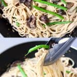 A collage of two creamy vegan miso pasta sauce photos