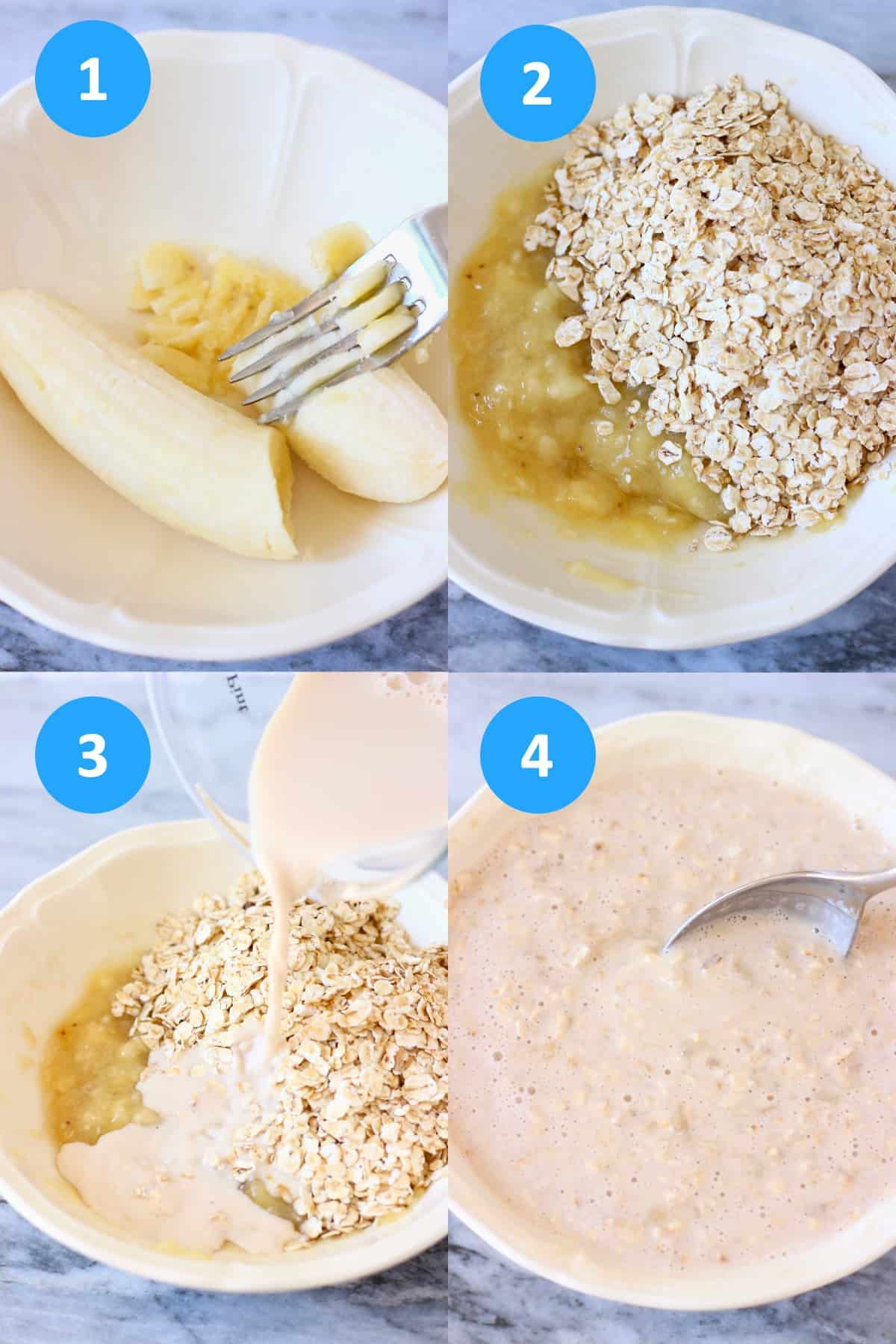 A collage of four banana overnight oats process shots