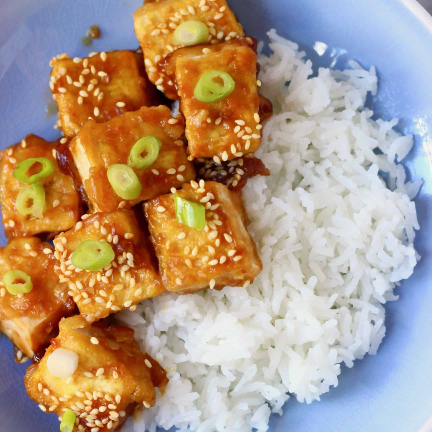Photo of rice and several pieces of fried tofu sprinkled with sesame seeds and sliced spring onions on a blue plate