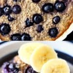 A collage of two Vegan Blueberry Banana Baked Oatmeal photos