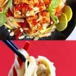 A collage of two vegan tofu pad Thai photos